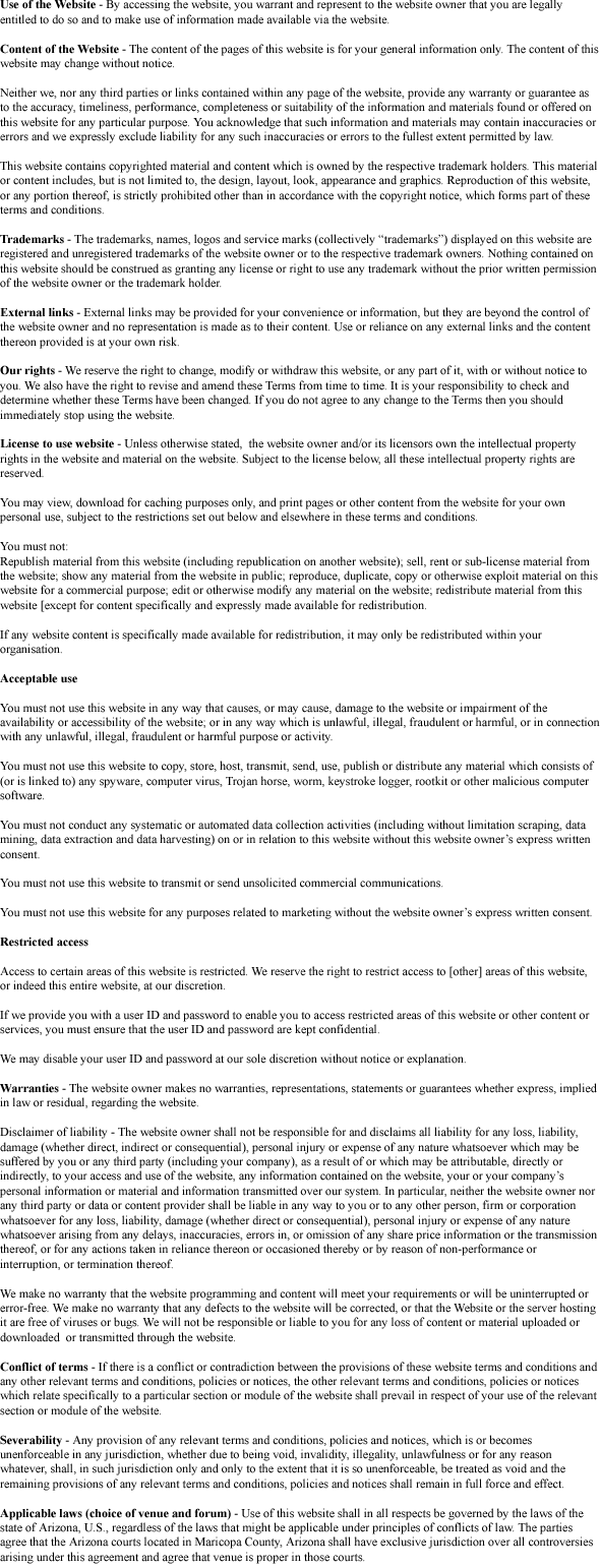 Terms and Conditions Image Detoxification Treatment Chandler